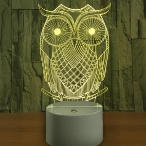 3D Owl Shape USB Charging LED Touch Night Light -