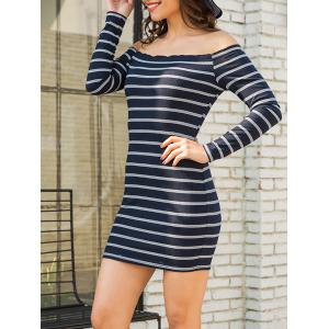Off The Shoulder Stripe Mini Dress -