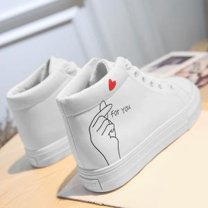 Print High Top PU Leather Casual Shoes -
