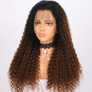 Long Free Part Fluffy Ombre Curly Wave Lace Front Synthetic Wig -