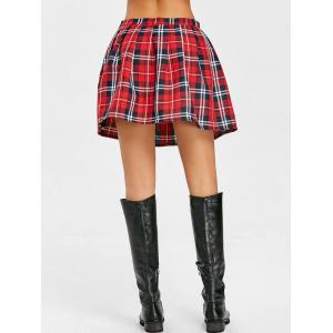 Pleated Plaid Mini A-line Skirt -