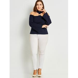 Ribbed Plus Size Choker Sweater -