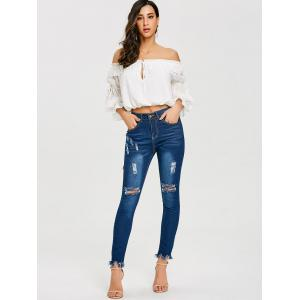 Frayed Ninth Skinny Ripped Jeans -