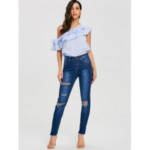 High Waist Frayed Ripped Jeans -