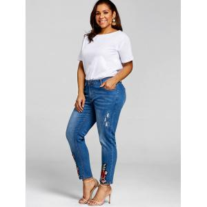Plus Size Floral Embroidery Denim Pants -