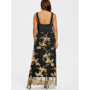 Sequins Wide Straps Open Back Cocktail Maxi Dress -