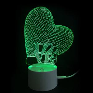 Letter Love Heart Colors Changing LED Night Light -