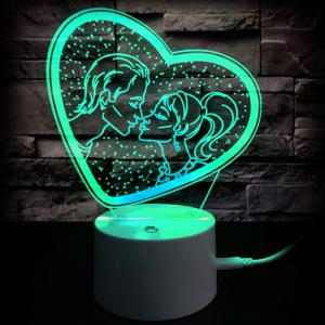 Gift Valentine's Day Gift Romantic Kiss Color Changing 3D Vision Night Light -