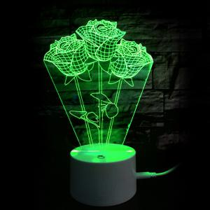 Valentine's Day Gift 9 Color Changing Roses Table Night Light -