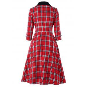 Empire Waist Plaid Shawl Collar Dress -