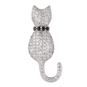 Sparkly Rhinestoned Tiny Kitten Brooch -