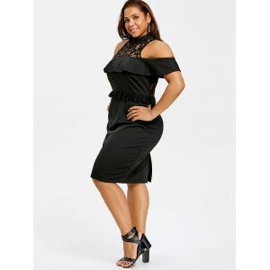 Plus Size Cold Shoulder Ruffle Evening Dress -