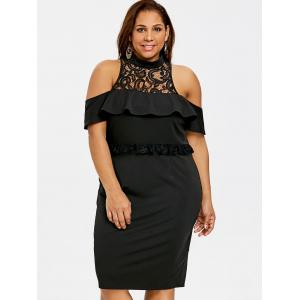 Plus Size Ruffled Cold Shoulder Bodycon Dress -