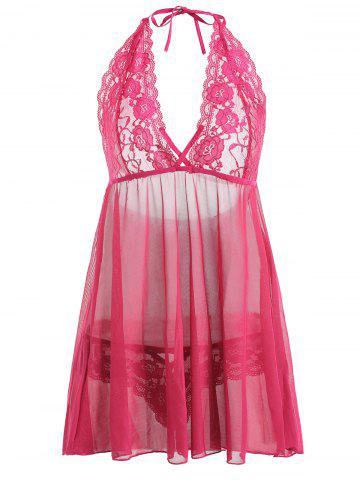 Plus Size Lace Sheer Halter Plunge Babydoll