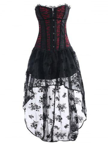 Store Vintage Asymmetric High Low Corset Dress
