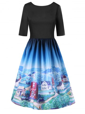 Cartoon Village Print Backless Flare Dress