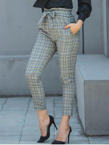 Cheap Belted Plaid Pencil Pants
