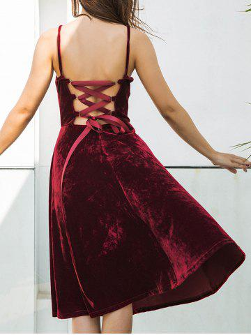 Fashion Back Lace Up Spagetti Strap Velvet Dress