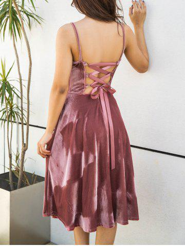 Discount Back Lace Up Spagetti Strap Velvet Dress