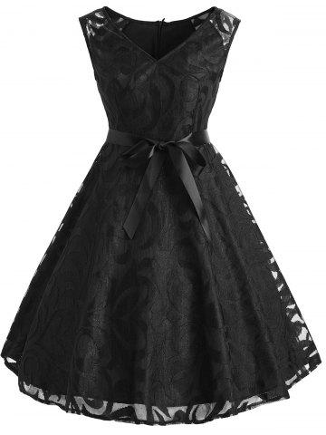 Trendy Belted V Neck Lace Overlay Dress