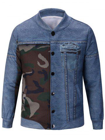Button Up Denim and Camouflage Pattern Jacket