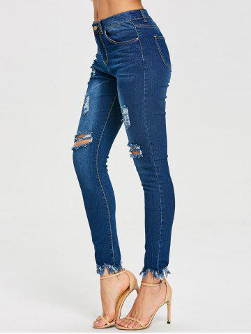 Store Frayed Ninth Skinny Ripped Jeans