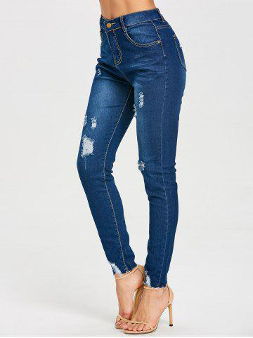 Fancy High Rise Skinny Ripped Jeans