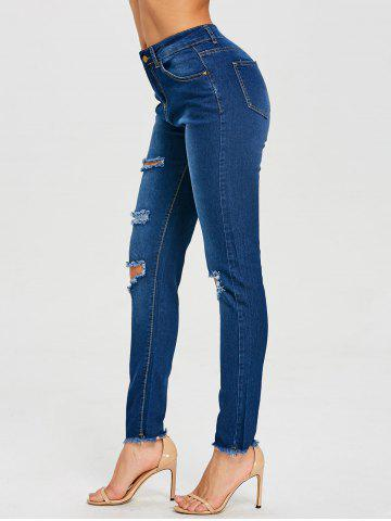 Discount High Waist Frayed Ripped Jeans