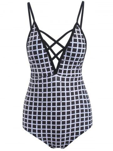 Plaid Lattice Front Swimsuit