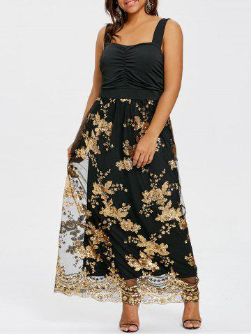 Unique Sequins Wide Straps Open Back Cocktail Maxi Dress