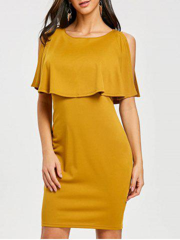 Fancy Scoop Neck Knee Length Caplet Dress