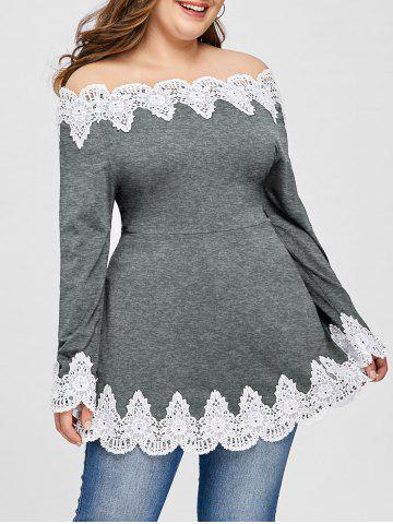 Chic Plus Size Embroidery Off The Shoulder Top