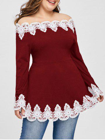 Latest Plus Size Embroidery Off The Shoulder Top