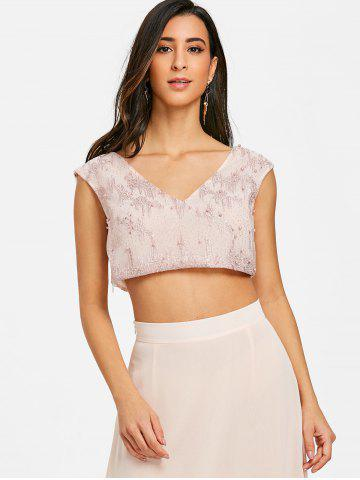 Beading Cut Out Sparkle Crop Top