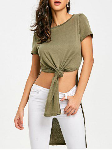 Shops High Slit Front Knot T-shirt