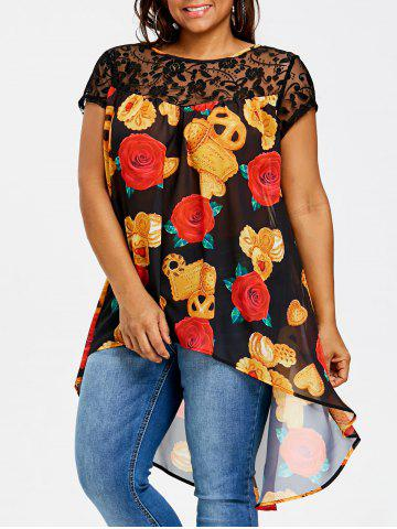 Outfit Plus Size Floral Print High Low Blouse