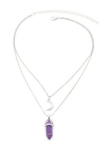 rosegal Layered Faux Crystal Bullet Moon Pendant Necklace