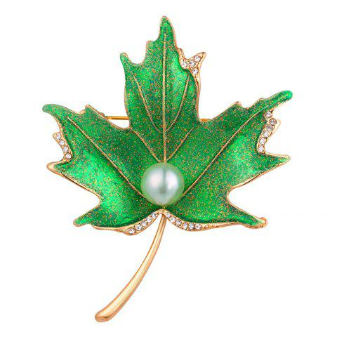 Fancy Rhinestone Faux Pearl Maple Leaf Brooch