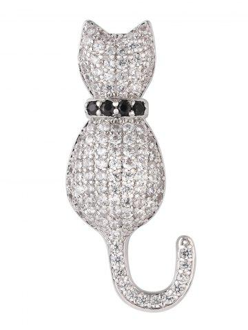 Discount Sparkly Rhinestoned Tiny Kitten Brooch