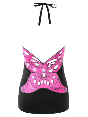 Fancy Open Back Butterfly Pattern Halter Tank Top