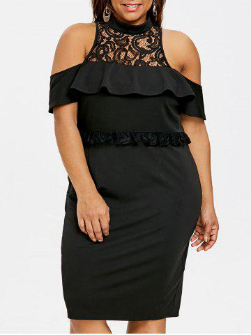 Trendy Plus Size Ruffled Cold Shoulder Bodycon Dress