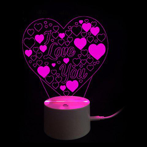 Mothers Day Gift 9 Color Changing Love You 3D Vision Valentine Night Light