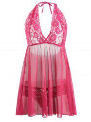 Plus Size Lace Sheer Halter Plunge Babydoll -