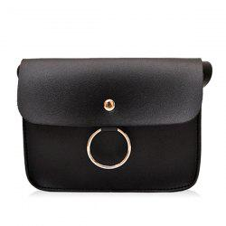 Faux Leather Flapped Crossbody Bag -