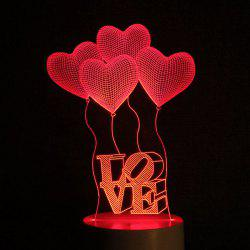 Mother's Day 3D Heart Balloon Love Letter Design USB Charging LED Touch Night Light -