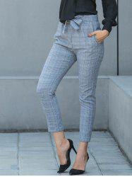 Belted Plaid Pencil Pants -