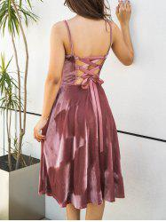 Back Lace Up Spagetti Strap Velvet Dress -