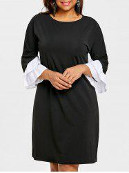 Bell Sleeve Drop Shoulder Plus Size Dress -