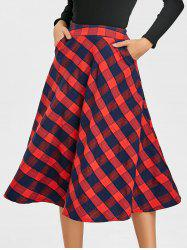 A-line Plaid Midi Skirt -