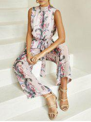 Back Cut Out Printed Jumpsuit -